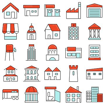 Buildings Sticker like Icons Set by Krukowski