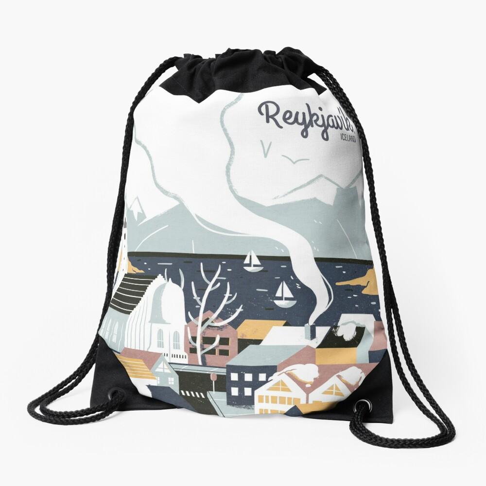 Reykjavik, Iceland, Travel poster Drawstring Bag