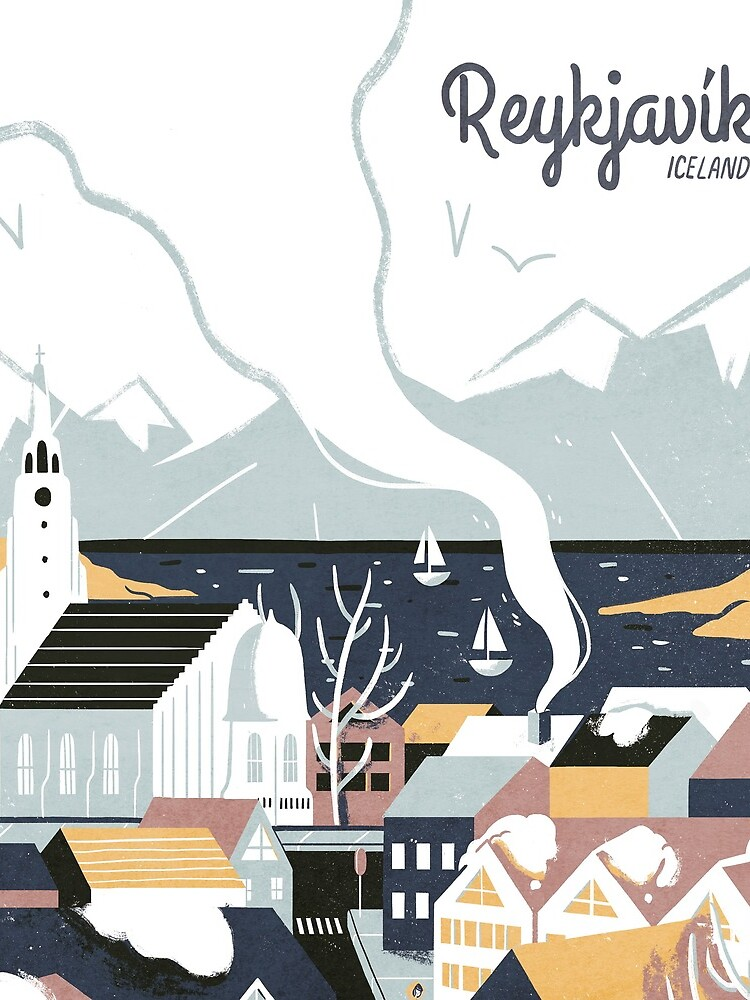 Reykjavik, Iceland, Travel poster by BokeeLee