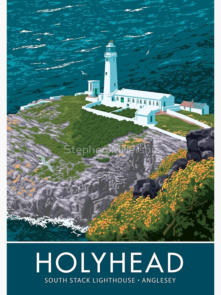 """""""South Stack Lighthouse, Holyhead, Anglesey"""" Poster By"""