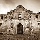 The Alamo in Sepia - San Antonio Texas by Gregory Ballos