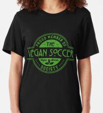 Vegan Soccer Athlete Society Club Member Gift Slim Fit T-Shirt