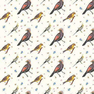 Wallpaper pattern design Bling Birds 7 Edouard Artus by EdouardArtus