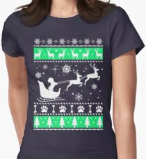 Poodle Sleigh Christmas, Funny Ugly Xmas Shirt, Perfect gift for Dog lovers Women's Fitted T-Shirt