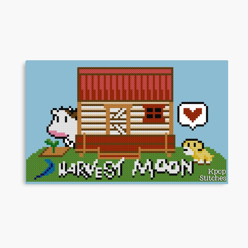 Harvest Moon (SNES) cross stitch design | Canvas Print