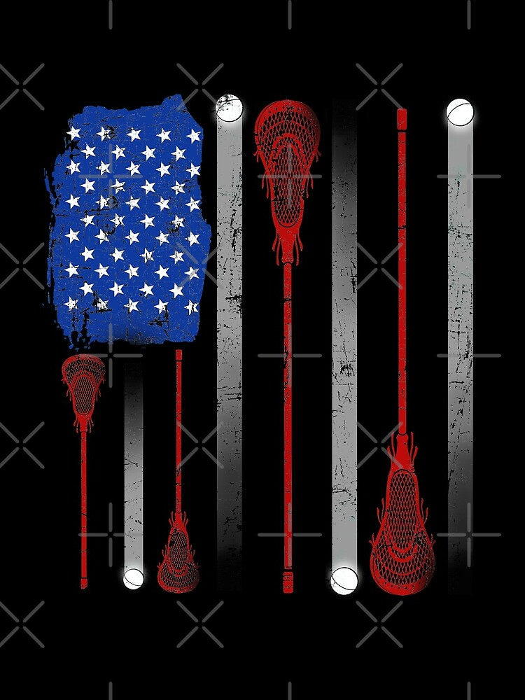 Lacrosse American Flag Lax Stick Ball Star Team by JapaneseInkArt