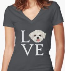 I Love Maltese Dog Lover Cute Doggie Face Women's Fitted V-Neck T-Shirt