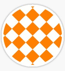 sloping chessboard, saturated orange and white Sticker