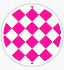 sloping chessboard, saturated pink and white Sticker