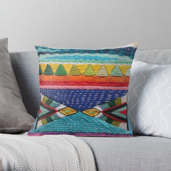 Rainbow Tribal Embroidery Throw Pillow