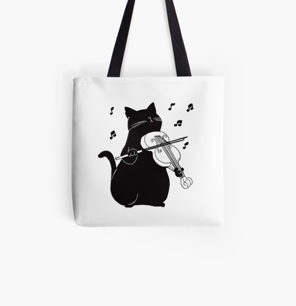 Black Cat Playing Violin Funny Musician Gift All Over Print Tote Bag