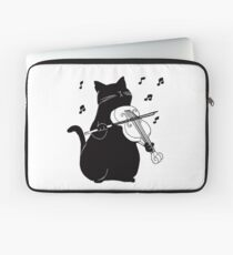 Black Cat Playing Violin Funny Musician Gift Laptop Sleeve