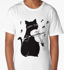 Black Cat Playing Violin Funny Musician Gift Long T-Shirt