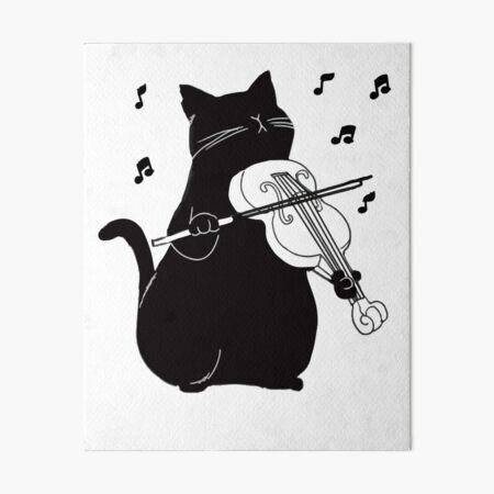 Black Cat Playing Violin Funny Musician Gift Art Board Print