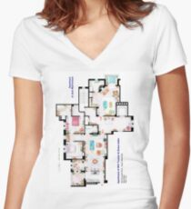 Apartments of Will Truman, Grace Adler and Jack MacFarland Women's Fitted V-Neck T-Shirt