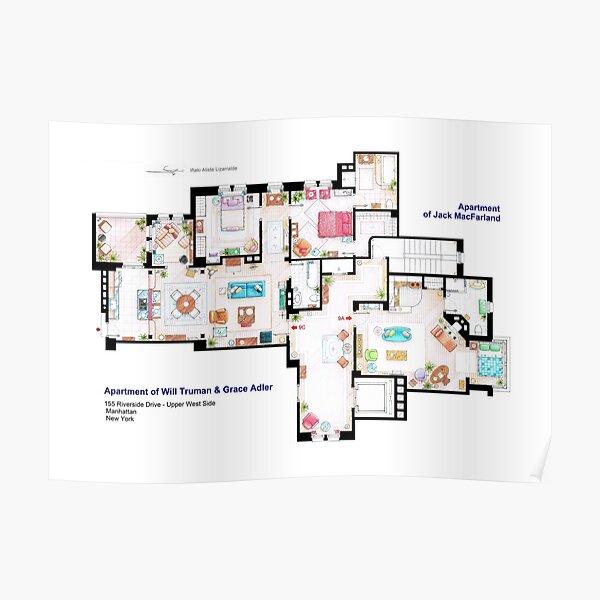 Apartments of Will Truman, Grace Adler and Jack MacFarland Poster