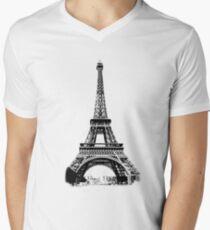 Eiffel Tower Digital Engraving Men's V-Neck T-Shirt