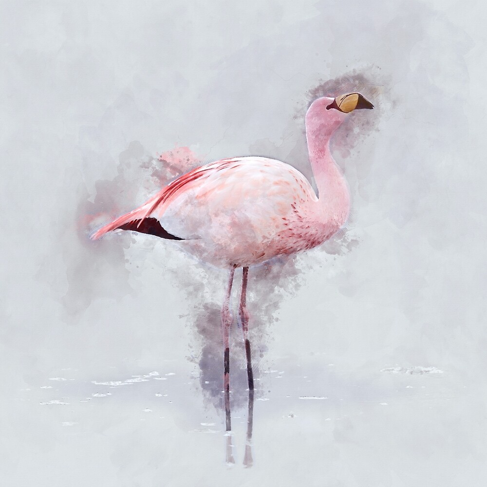 Pink Flamingo Watercolor by ChunkyDesign
