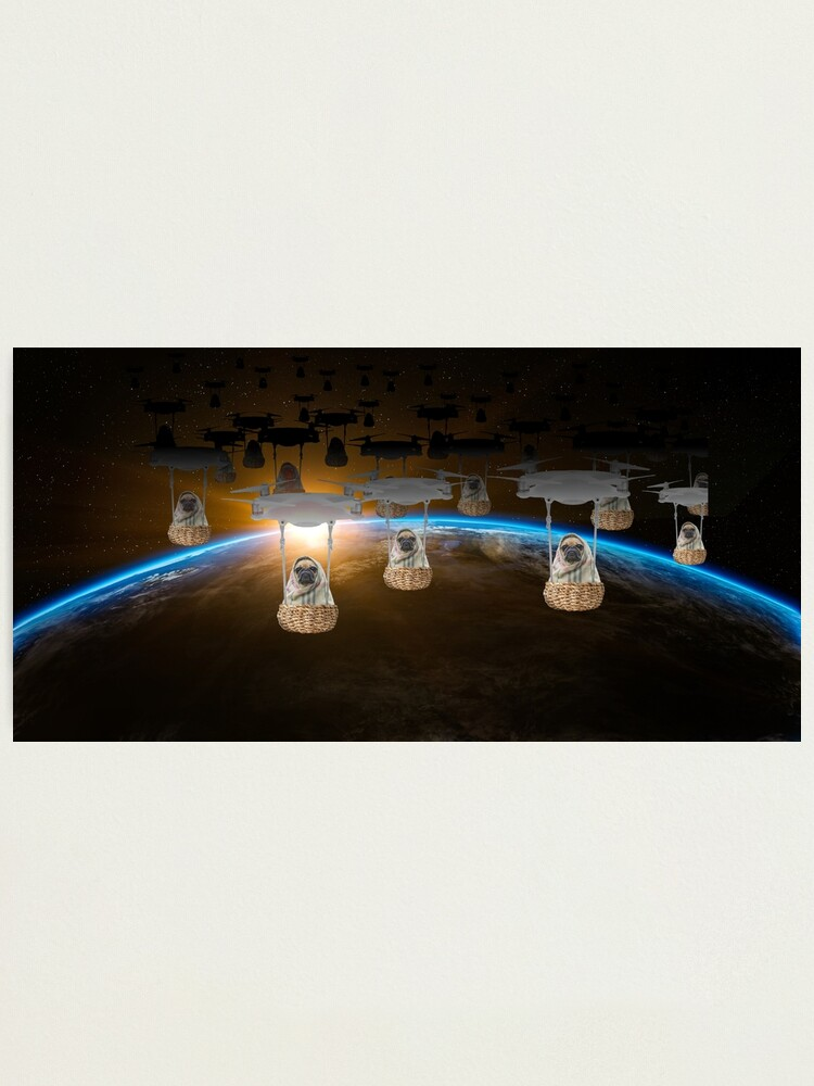 Alternate view of Pugvasion Alien Invasion by Drone Photographic Print