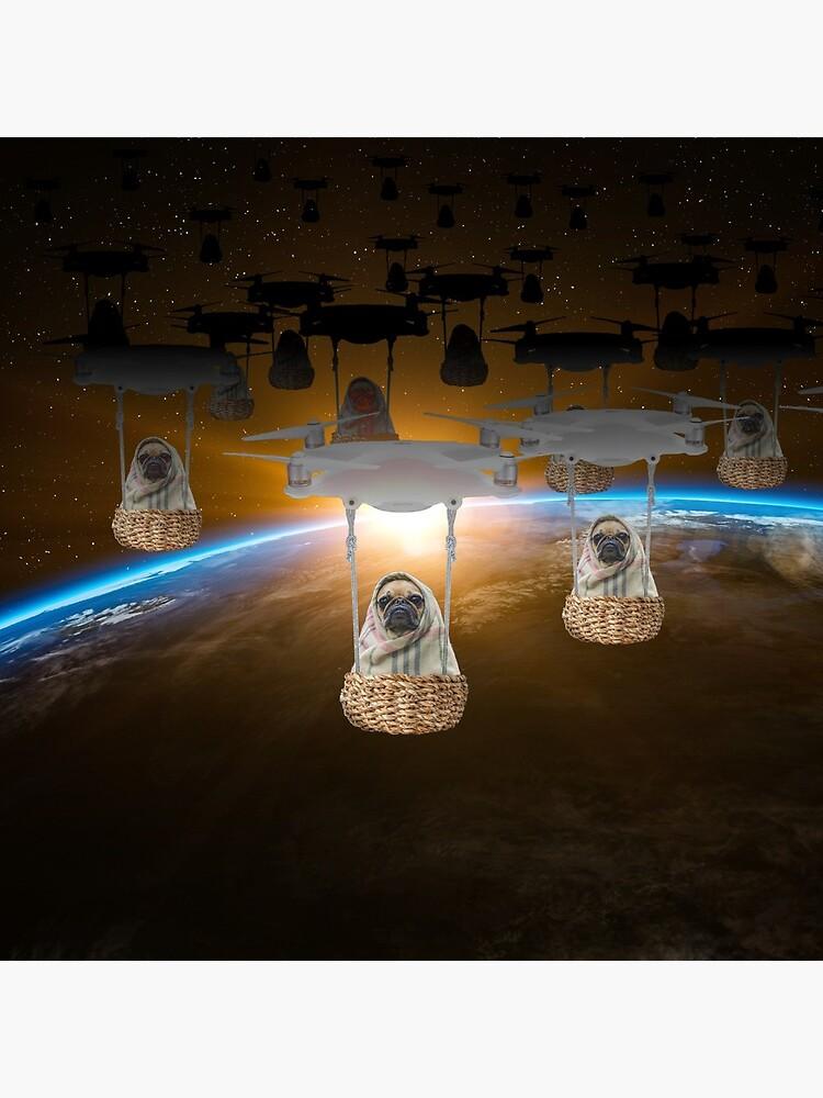 Pugvasion Alien Invasion by Drone by podartist