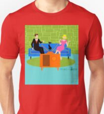 Retro Couple with Cat  T-Shirt