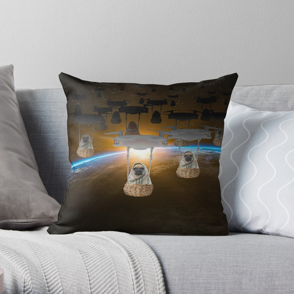 Pugvasion Alien Invasion by Drone Throw Pillow