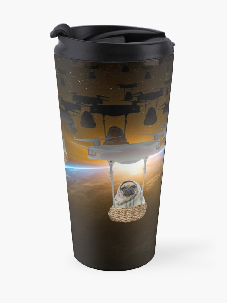 Alternate view of Pugvasion Alien Invasion by Drone Travel Mug