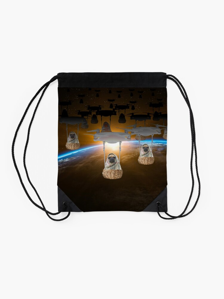 Alternate view of Pugvasion Alien Invasion by Drone Drawstring Bag