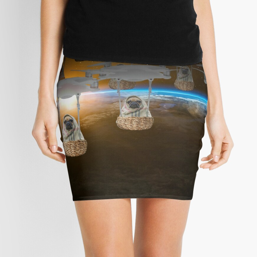 Pugvasion Alien Invasion by Drone Mini Skirt