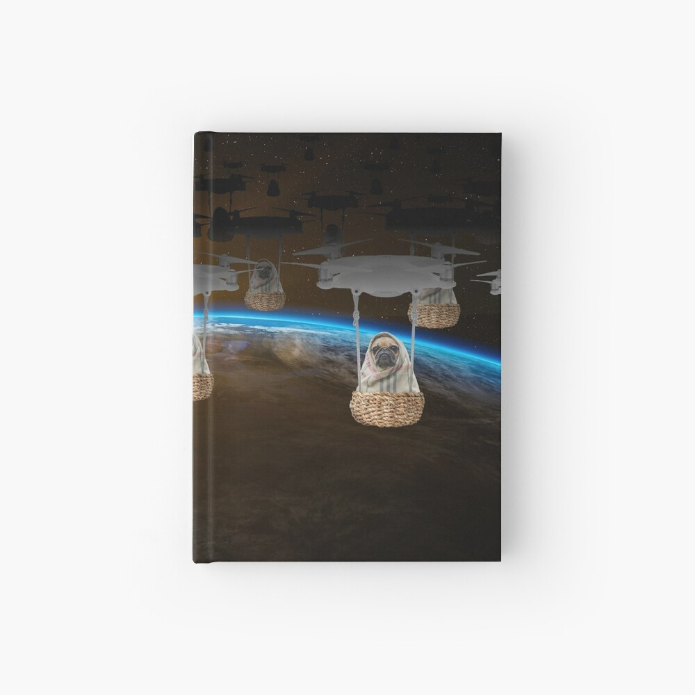 Pugvasion Alien Invasion by Drone Hardcover Journal