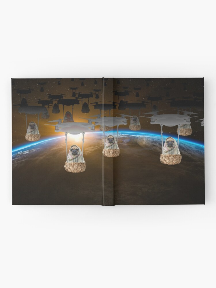 Alternate view of Pugvasion Alien Invasion by Drone Hardcover Journal
