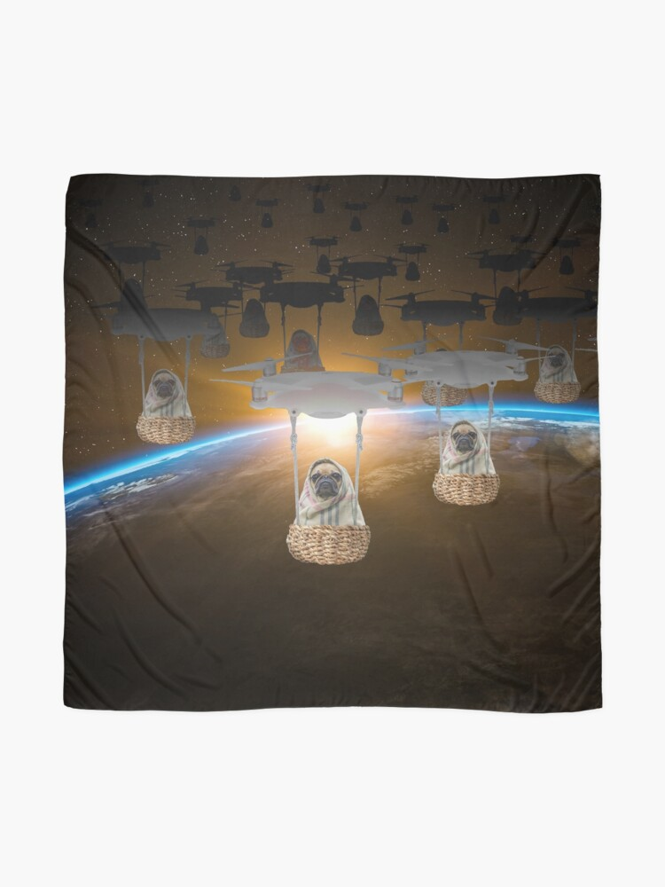 Alternate view of Pugvasion Alien Invasion by Drone Scarf