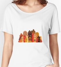 Vintage cartoon houses and trees.Sweet home Women's Relaxed Fit T-Shirt