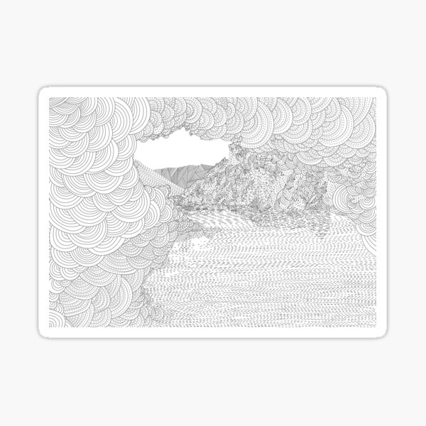 Rydal Caves from the Rydal Water Adult Colouring Book of the Lake District Sticker