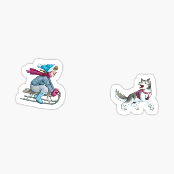 Anna and Husk sledding Sticker