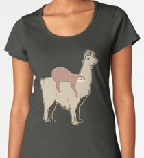 Funny Sloth Riding Llama Shirt Cute Sloth Shirt Llama Lover Women's Premium T-Shirt