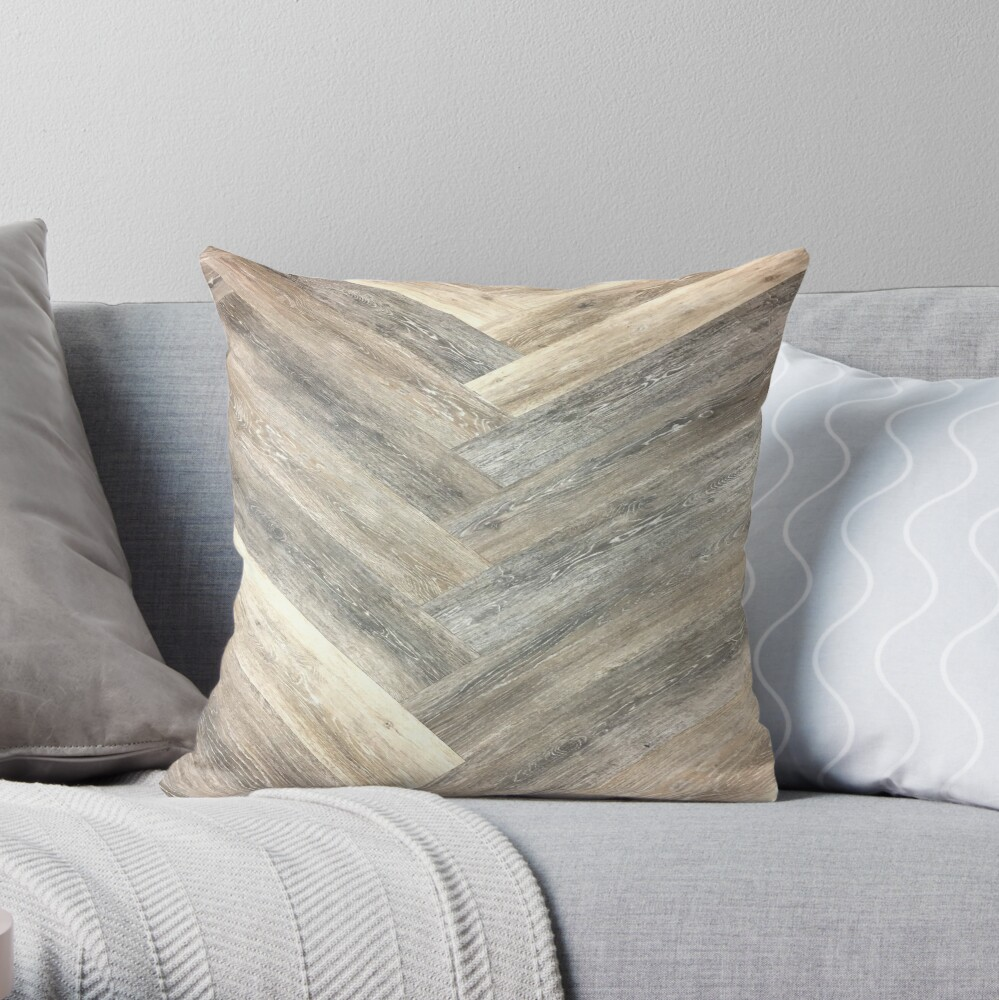 contemporary Caramel brown grey Beige farmhouse barn wood Throw Pillow