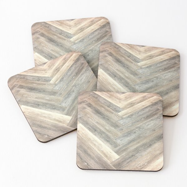 contemporary Caramel brown grey Beige farmhouse barn wood Coasters (Set of 4)