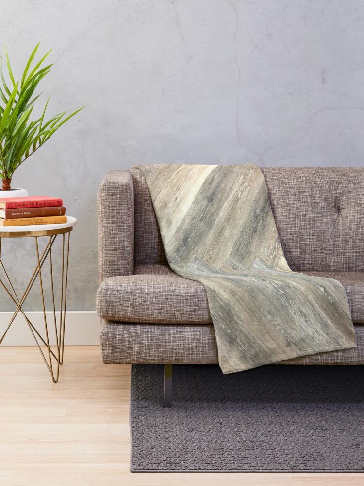 Alternate view of contemporary Caramel brown grey Beige farmhouse barn wood Throw Blanket