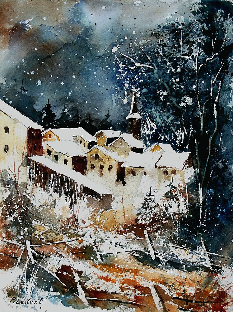 Watercolor vivy village belgium by calimero