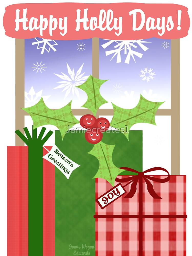 Whimsical Christmas Holly & Gifts Art  by Jamie Wogan Edwards