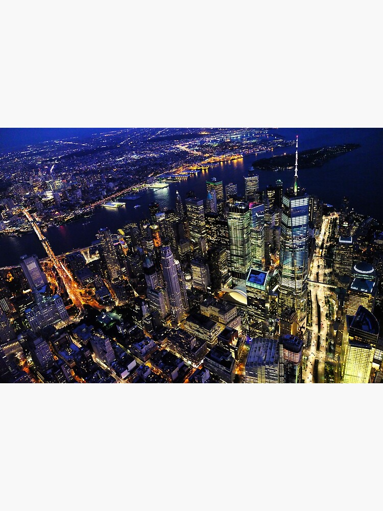 New York City Manhattan Usa Cityscape Aerial View At Spectacular Night Postcard By Productpics Redbubble