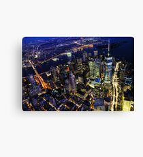 New York City, Manhattan, USA cityscape aerial view at spectacular night Canvas Print