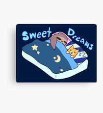 Sweet Dreams Sloth and Tabby Canvas Print