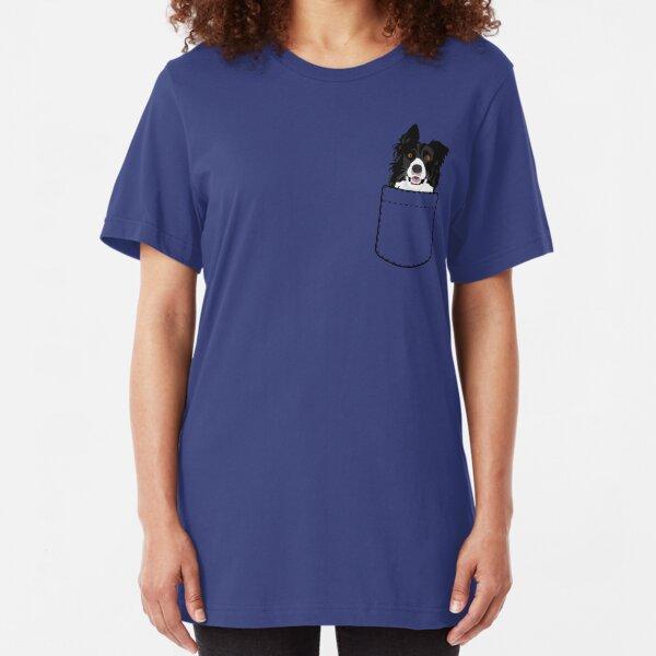 Border Collie Dog In Your Pocket Slim Fit T-Shirt