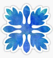 Ginger Hawaiian Quilt Blue Watercolor Aloha print Sticker