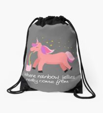 Unicorn Barf: Where Rainbow Jellies Really Come From Drawstring Bag