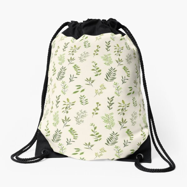 Leaf Pattern Drawstring Bag