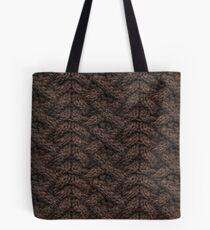 Brown Haka Cable Knit Tote Bag