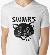 swmrs Logo Katze T-Shirt mit V-Ausschnitt